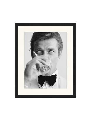 Stampa digitale incorniciata James Bond Drinking, Immagine: stampa digitale su carta,, Cornice: legno verniciato, Foto: nero, bianco Cornice: nero, Larg. 43 x Alt. 53 cm