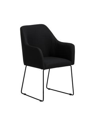 Sedia con braccioli Isla, Rivestimento: poliestere 50.000 cicli d, Gambe: metallo verniciato a polv, Nero, Larg. 58 x Prof. 62 cm
