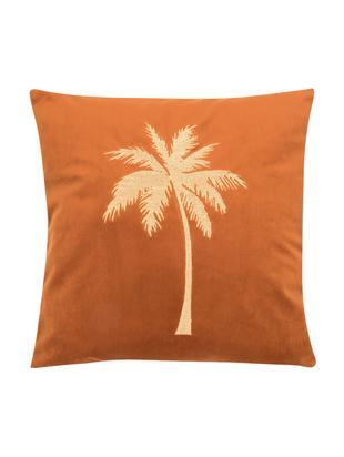 Poszewka na poduszkę z aksamitu Palmsprings, 100% aksamit poliestrowy, Pomarańczowy, odcienie złotego, S 40 x D 40 cm