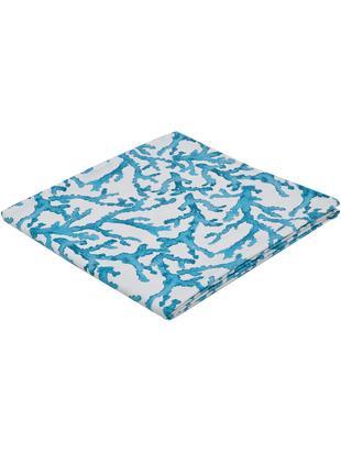 Tischdecke Estran mit Korallenprint, Baumwolle, Blau, Weiß, Für 4 - 6 Personen (B 160 x L 160 cm)