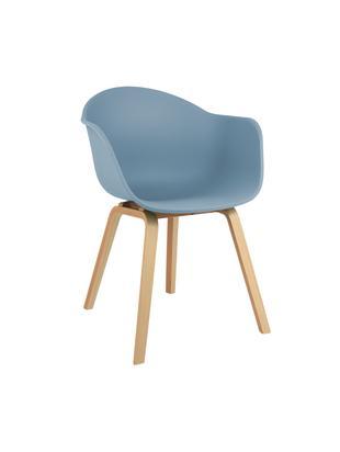 Kunststoff-Armlehnstuhl Claire mit Holzbeinen, Sitzschale: Kunststoff, Beine: Buchenholz, Sitzschale: BlauBeine: Buchenholz, B 61 x T 58 cm