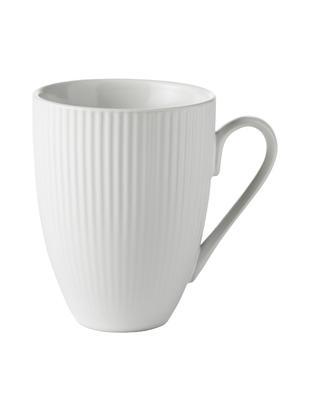 Kaffeetassen Groove mit Rillenstruktur, 4 Stück, Porzellan, Weiß, Ø 9 x H 11 cm