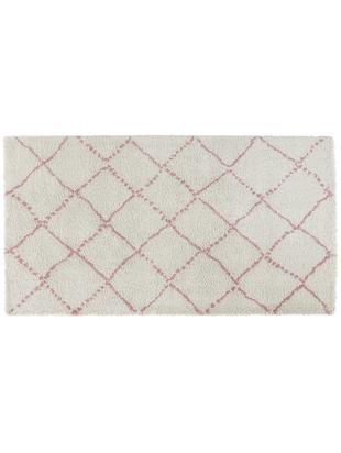 Pluizig hoogpolig vloerkleed Hash in roze-crèmekleur, Bovenzijde: polypropyleen, Onderzijde: jute, Crèmekleurig, roze, 80 x 150 cm