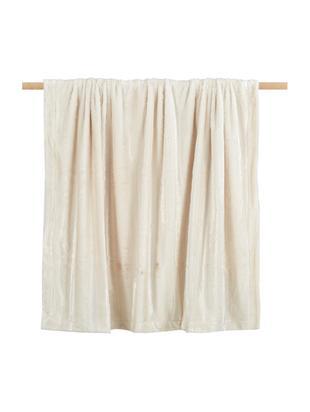 Kunstfell-Plaid Alva, Vorderseite: 100% Polyester (Kunstfell, Rückseite: 100% Polyester (Fleece), Hellbeige, Creme, 150 x 200 cm