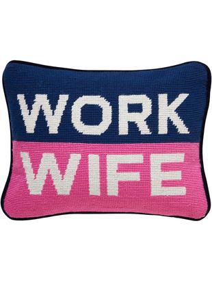 Piccolo cuscino di design Work Wife, con imbottitura, Retro: velluto di cotone, Blu, rosa, bianco, Larg. 23 x Lung. 30 cm