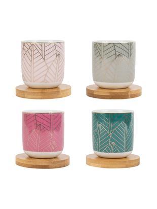 Porzellan-Becher mit Bambusuntersetzer, 8-tlg., Becher: Porzellan, Untersetzer: Bambus, Mehrfarbig, Ø 6 x H 7 cm
