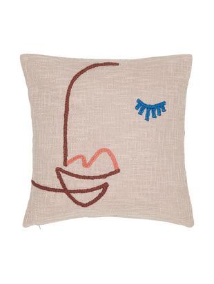 Housse de coussin en coton bio avec broderie abstraite Faces