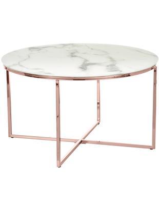 Tavolino da salotto con piano in vetro Antigua, Piano d'appoggio: vetro opaco stampato, Struttura: acciaio ottonato, Bianco-grigio marmorizzato, colori rosa, Ø 80 x Alt. 45 cm