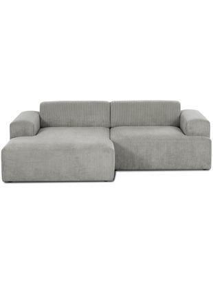 Sofa narożna ze sztruksu Marshmallow (3-osobowa), Tapicerka: sztruks (92% poliester, 8, Stelaż: lite drewno sosnowe, płyt, Nogi: drewno sosnowe, Szary, S 240 x G 144 cm