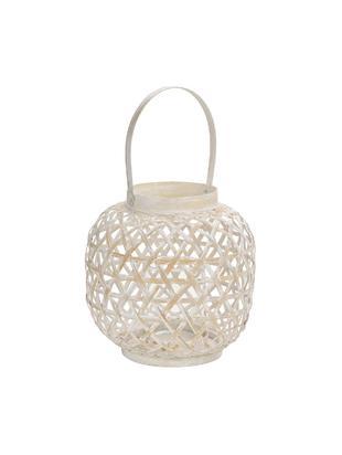 Windlicht Bamboo, Bambus, Weiß, Beige, Ø 24 x H 39 cm