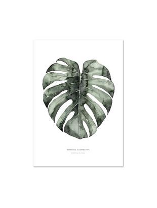 Póster Urban Monstera, Impresión digital sobre papel, 200g/m², Blanco, verde, An 21 x Al 30 cm
