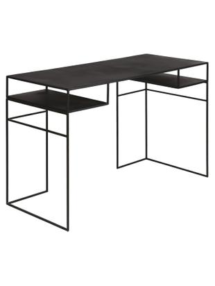 Metall-Schreibtisch Expo in Schwarz, Metall, beschichtet, Schwarz, B 120 x T 55 cm