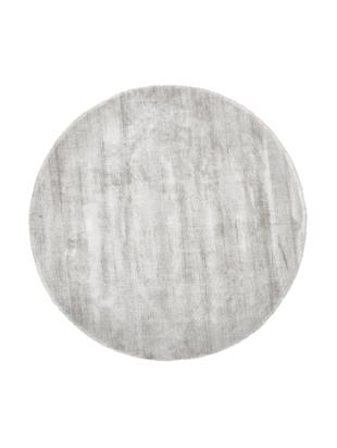 Runder Viskoseteppich Jane, handgewebt, Flor: 100% Viskose, Hellgrau-Beige, Ø 200 cm (Größe L)