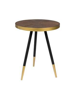 Tavolino rotondo Denise, Piano d'appoggio: pannelli di fibra a media, Legno di frassino, dorato, Ø 45 x Alt. 45 cm