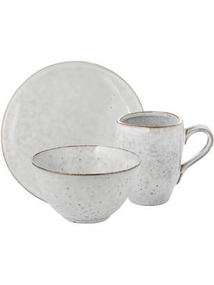 Handgemaakte ontbijtset Nordic Sand, 4 personen (12-delig), Keramiek, Beige, Verschillende formaten