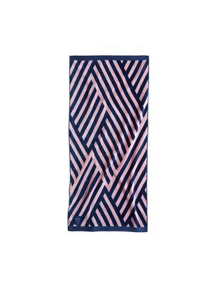 Gemustertes Strandtuch Bonsall in Rosa/Blau, Bio-Baumwolle, GOTS-zertifiziert, mittelschwere Qualität, 450 g/m², Dunkelblau, Pink, 80 x 180 cm