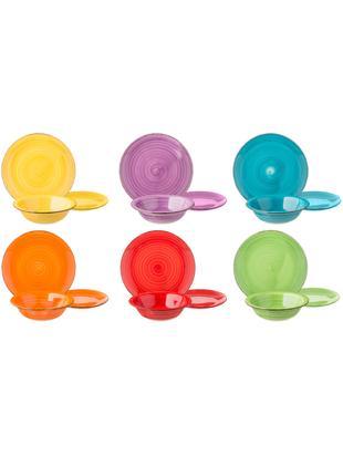 Komplet talerzy z porcelany Baita, 18elem., Kamionka (Hard Dolomite), ręcznie malowana, Żółty, purpurowy, turkusowy, pomarańczowy, czerwony, zielony, Różne rozmiary