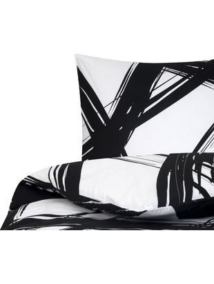 Pościel z bawełny renforcé Brush, Czarny, biały, 135 x 200 cm
