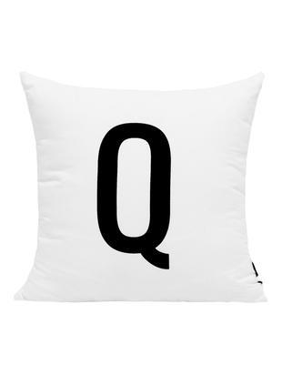 Kissenhülle Alphabet (Varianten von A bis Z), Polyester, Schwarz, Weiß, Kissenhülle Q