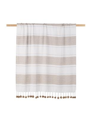 Plaid in bianco/taupe Pom Pom, Cotone, Bianco latteo, taupe, Larg. 130 x Lung. 170 cm