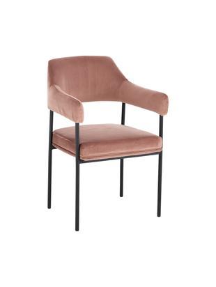 Krzesło z aksamitu z podłokietnikami Zoe, Tapicerka: aksamit (poliester) 50 00, Stelaż: metal malowany proszkowo, Tapicerka: brudny różowy Stelaż: czarny, matowy, S 56 x G 62 cm
