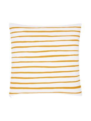 Gestreifte Kissenhülle Ola, Baumwolle, Gelb, Weiß, 40 x 40 cm