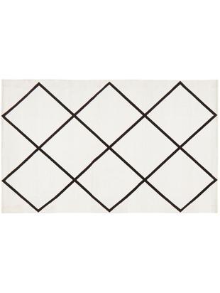 Ręcznie tkany dywan z bawełny Farah, Bawełna, Kremowobiały, czarny, S 50 x D 80 cm