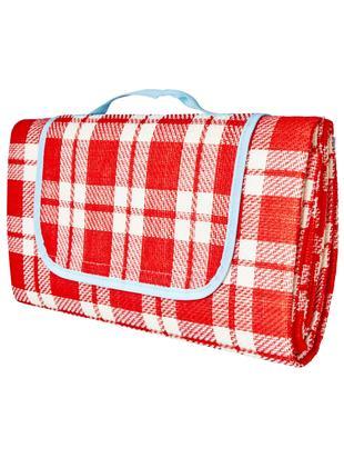 Picknick-Decke Checked, Oberseite: Acryl, Unterseite: Kunststoff, Rot, Weiß, Hellblau, 150 x 150 cm