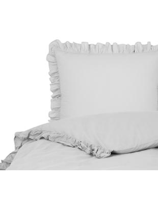 Parure copripiumino in cotone lavato Florence, Tessuto: percalle, Grigio chiaro, 155 x 200 cm