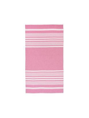 Fouta Nora, 100% bawełna, bardzo niska gramatura, 130g/m², Różowy, kremowy, S 90 x D 170 cm