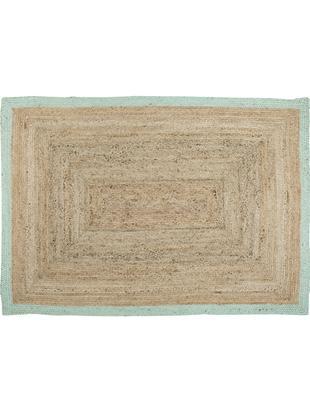 Handgefertigter Jute-Teppich Shanta, Flor: Jute, Jute, Mintgrün, B 160 x L 230 cm (Größe M)