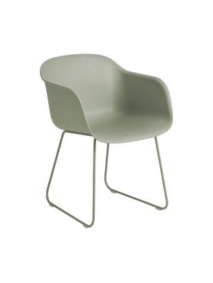 Armlehnstuhl Fiber mit Kufengestell, Sitzfläche: Recyclebarer Kunststoff m, Beine: Stahl, pulverbeschichtet, Kunststoff Olivgrün, B 55 x T 55 cm