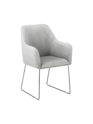 Krzesło z aksamitu z podłokietnikami Isla, Tapicerka: aksamit (poliester) 5000, Nogi: metal powlekany, Jasny szary, S 58 x G 62 cm