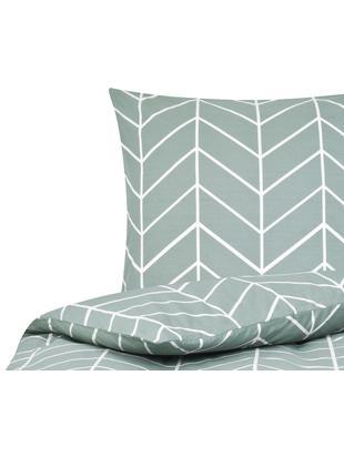 Renforcé-Bettwäsche Mirja mit grafischem Muster, Webart: Renforcé, Grün, Cremeweiß, 135 x 200 cm