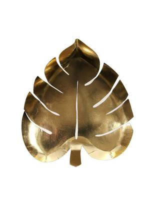 Piatto di carta Palm Leaf, 8 pz., Carta, sventati, Dorato, Larg. 23 x Prof. 19 cm
