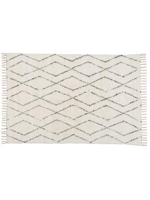 Handgewebter Teppich Berber mit Fransen, Baumwolle, Grau, Cremeweiß, B 140 x L 200 cm (Größe S)
