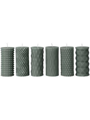 Stumpenkerzen-Set Mix Rhomb, 6-tlg., 95% Paraffin, 5% Sojawachs, Thymiangrün, Ø 7 x H 14 cm