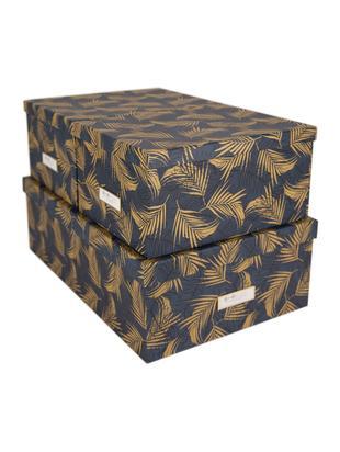 Set scatole Inge, 3 pz., Scatola: solido, cartone laminato, Dorato, blu grigio, Diverse dimensioni