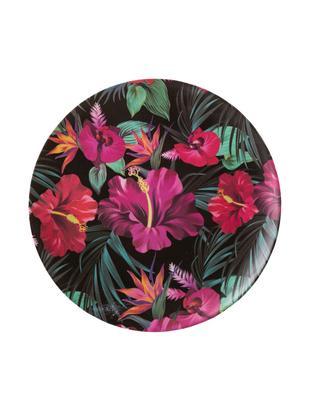 Piatto da colazione in bambù Tropical Flower, 55% fibra di bambù, 25%  amido di mais, 15% melamina, Verde, color fucsia, rosso, bianco, Ø 20 cm