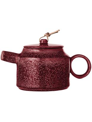 Tetera artesanal Joelle, Tetera: gres, Cordón: cuero, Rojo oscuro, 570 ml