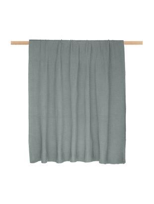 Strick-Plaid Adalyn, 100% Baumwolle, Salbeigrün, 150 x 200 cm