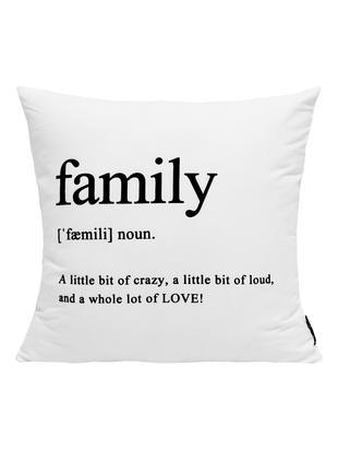 Kissenhülle Family in Schwarz/Weiß mit Schriftzug, Polyester, Schwarz, Weiß, 45 x 45 cm