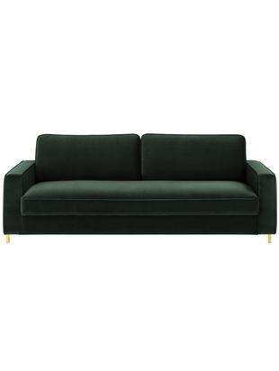 Samt-Sofa Chelsea (3-Sitzer), Bezug: Samt (Hochwertiger Polyes, Gestell: Massives Fichtenholz, Samt Dunkelgrün, B 228 x T 100 cm