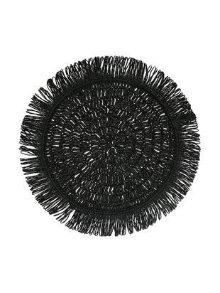 Okrągła podkładka z frędzlami Gyula, Włókna papierowe, Czarny, Ø 40 cm