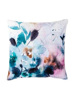 Cuscino in velluto con motivo floreale Fiore, Velluto di cotone, Bianco, blu, Larg. 45 x Lung. 45 cm