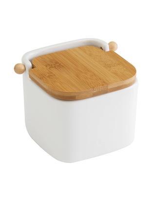 Caja de almacenaje Puerta, Caja: gres, Blanco, marrón, An 12 x Al 12 cm