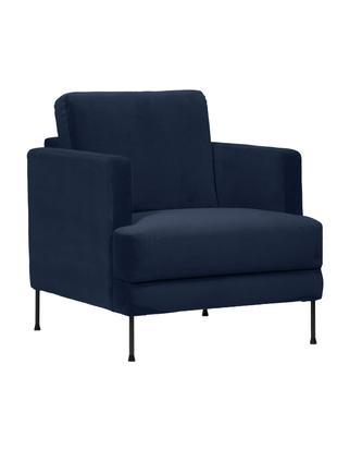 Samt-Sessel Fluente, Bezug: Samt (Hochwertiger Polyes, Gestell: Massives Kiefernholz, Füße: Metall, lackiert, Samt Dunkelblau, B 76 x T 83 cm