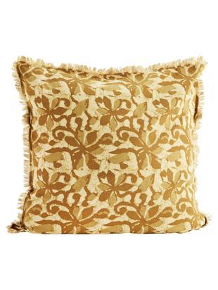 Poszewka na poduszkę z frędzlami Golden Days, Bawełna, Beżowy, odcienie brązowego, S 60 x D 60 cm