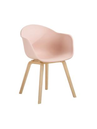 Kunststoff-Armlehnstuhl Claire mit Holzbeinen, Sitzschale: Kunststoff, Beine: Buchenholz, Kunststoff Rosa, B 61 x T 58 cm
