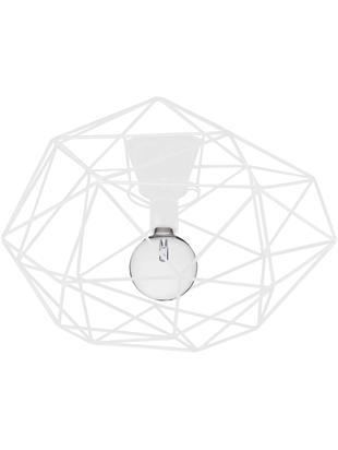 Deckenleuchte Diamond in Weiß, Messing, lackiert, Weiß, Ø 50 x H 32 cm